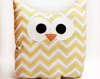 Owl Pillow - Yellow and Gray Chevron - Small - Ready To Ship!