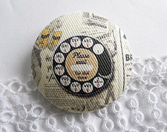 Fabric Button, Vintage Phone, 40 mm / 1.57 in
