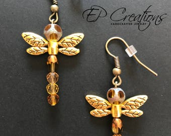 Gold & brown firefly earrings