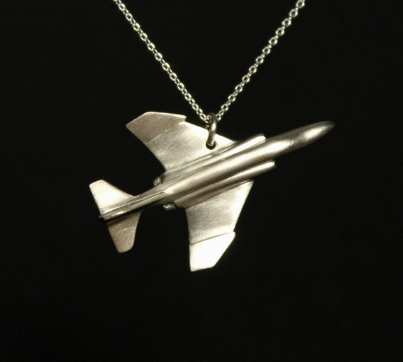 Pilots Airplane jewelry, Phantom F4 pendant, fighter pilots jewelry, power aircraft, sterling silver, pilots gift, air force jewelry