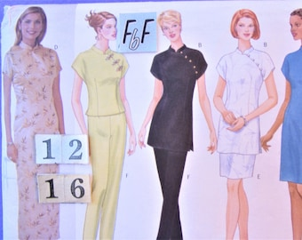 Cheongsam, Chinese Evening Dress Sewing Pattern/ Butterick 5414 Womens Stand up Mandarin Collar Tunic Top, Skirt, Pants UnCut/ Size 12 14 16