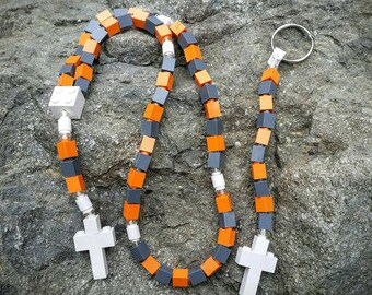The Original Memento Moose Rosary and Chaplet Set Made with Lego Bricks - Orange, Gray and White - First Communion Special!