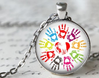 Loving Hands Pendant, Necklace or Key Chain - Choice of 4 Colors - Rainbow Hands - Children, Hearts, Daycare, Teacher