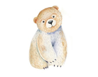 Bear Animal Watercolor Original Painting 07
