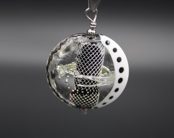 Black and silver murano glass pendant with pure