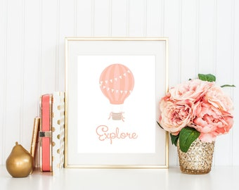 Explore Hot Air Balloon Printable Pink Nursery Decor Typography Adventure Print Nursery art Hot Air Balloon Nursery Pastel Decor Girls room