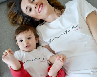 MOM and SON or DAUGHTER custom matching shirts, short sleeve t-shirt for mother, baby t-shirt, kid t-shirt, mom gift, matching outfit