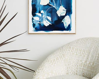 Indigo floral painting, indigo painting, indigo art, watercolor, abstract floral, floral print, floral art, wall art