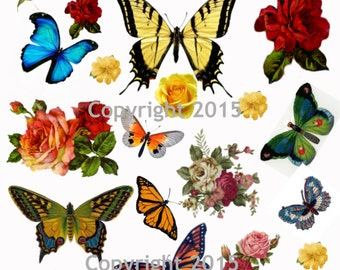 Butterflies and Flowers Vintage Images Collage Sheet Instant Digital Download
