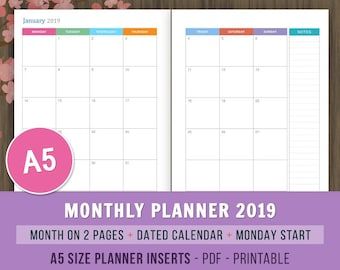 Monthly Planner 2019, Monday Start, Printable Planner, Monthly Calendar 2019, Month on 2 Pages, MO2P, A5 Filofax Inserts, A5 Planner Inserts