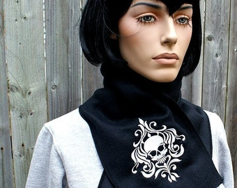 Damask Skull Embroidered Black Fleece Scarf  gothic winter fashion Choose Any Thread Color