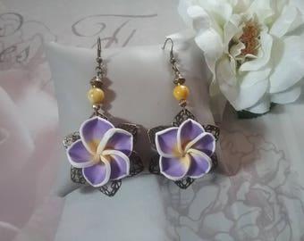Earrings dangling flowers tiara