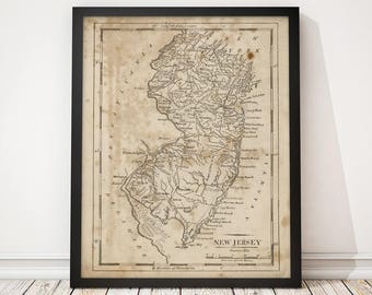 New Jersey Map, Antique Map Art Print, 1816, Archival Reproduction