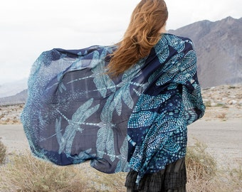 Silk Square Scarf, Dragonfly Scarf, Blue Shawl, Natural Silk Scarf, Maxi Scarf, Beach Pareo, Maxi Sarong, Oversized Scarf, Beach Wrap