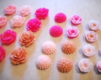 Flower Cabochons Pink Flower Flatbacks Flat Back Flowers Assorted Cabochons Flat Back Flower Assorted Flowers 20pcs