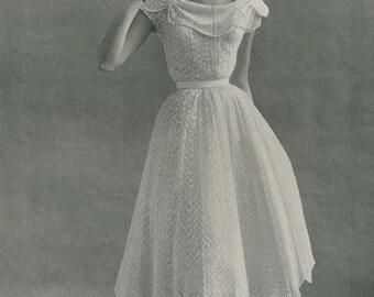 KNITTING PATTERN Vintage 1950s Nomotta Informal Wedding Dress Gown Instant Download PDF