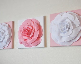 """Wall Decor -SET OF THREE Light Pink and White Flower Wall Hangings 12 x12"""" Canvas Wall Art-"""