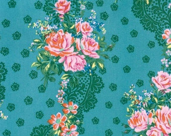 SALE Fabric, Hotel Frederiksted by Jennifer Paganelli, Krysta in Blue, Rose Fabric, Pink and Blue Floral Fabric