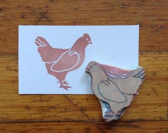 Chicken Rubber Stamp Hand Carved | Hen Rubber Stamp