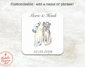 Wedding Cats Personalised Coaster, Personalized Wedding Coasters Set, Cat Wedding Gift, Bride and Groom Gift, Country Wedding Table Decor