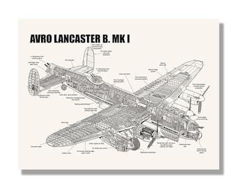 Cutaway etsy avro lancaster b mk i official aviation cutaway by mike badrocke blueprint style screen malvernweather Choice Image