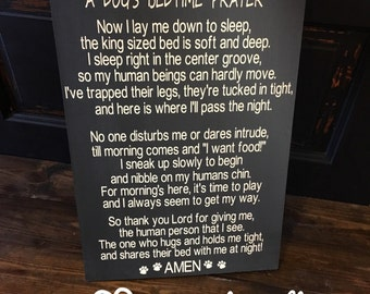 A Dog's Bedtime Prayer, sign