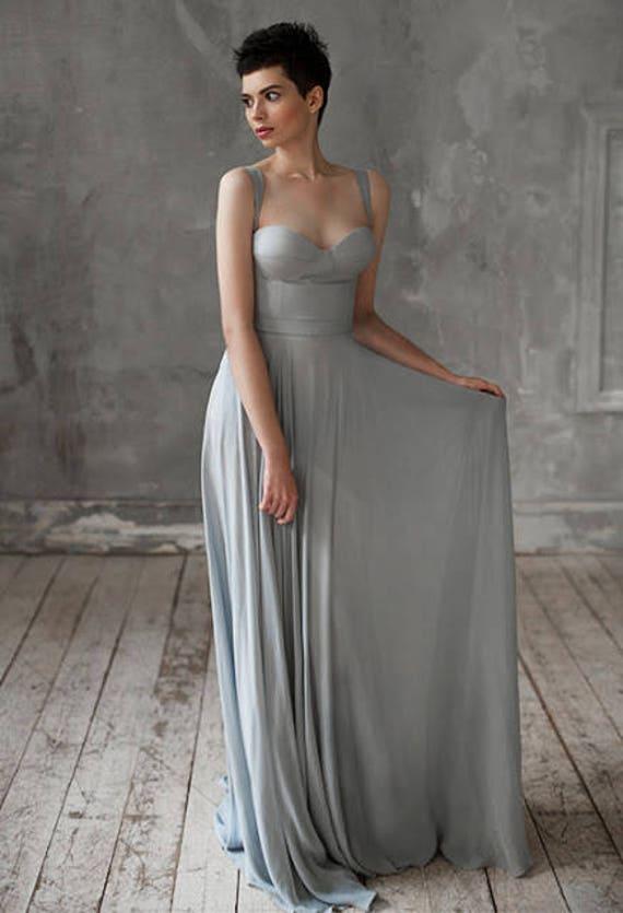Eeribiya Grey Wedding Dresses Silk Dress Boho Bridesmaid Bohemian Gown Chiffon