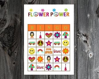 Flower Power Bingo 30 Printable Hippie Retro 60s 70s Party Bingo Game Cards