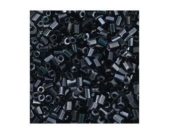 Hex Cut 2mm Hematite Glass Bugle Beads 5gm