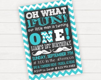 Mustache Birthday Invitation, Mustache Party, Mustache Invitation, OnE Birthday, 1st Birthday Invitation Boy, First Birthday Boy, Moustache
