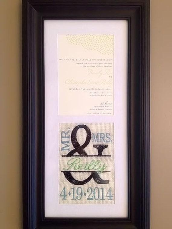 Custom monogrammed framed wedding invitation keepsake stopboris Image collections