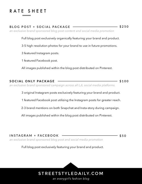Page Media Kit Template  Press Kit For Bloggers  Influencers