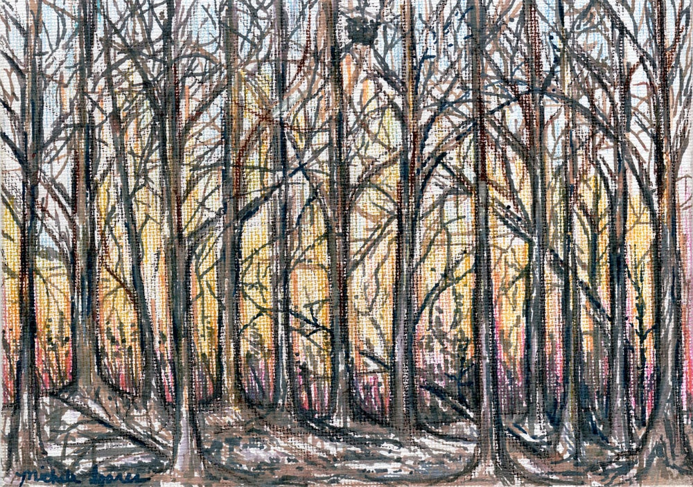 Winter Trees Landscape DRAWING On Canvas Original 5x7