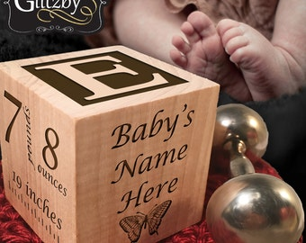 Personalized Baby Block, Your Baby's Hand and Footprints Engraved,Nursery Decor, Newborn Gift, Baby Keepsake, Photo Baby Block, Wood Block
