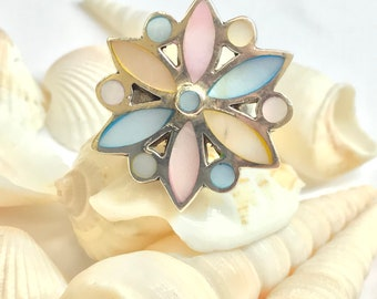 Vintage 925 silver cottoncandy multi stone flower ring L397