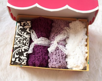 Hand crochet wash cloth and soap set