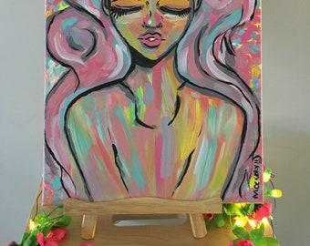 Rainbow Soul - Original Canvas Painting Multicolour Cartoon Portrait