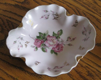 Serving Dish, Vintage Hand Painted Flower Shaped Porcelain Dish, Candy Dish, Pink Floral Serving Dish, Trinket Dish