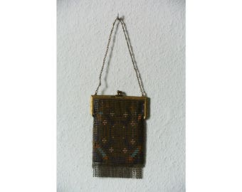 ART DECO PURSE / multicolor metallic chainmail / gold / 1920's