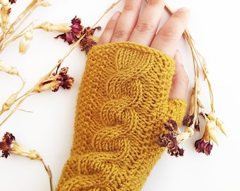 Mustard cable knit gloves -  Knit fingerless gloves Fingerless gloves  Mustard yellow gloves Christmas gift ideas Gift under 30 Arm warmer