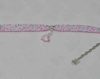 Liberty bracelet pink Crystal pink heart flowers