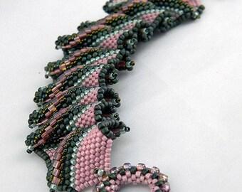 Watermelon Tourmaline Royal Ruffles Beaded Bracelet - Hannah Rosner
