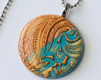 Aztec Gold and Turquoise Stamped Clay Pendant Necklace/dimensional, shimmer, hand painted, resin jewelry