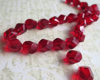 Red faceted Czech glass beads 13mm