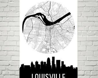 Louisville Skyline, Louisville Map, Louisville Skyline Art, Louisville Canvas Art, Louisville City Map, Louisville KY, Kentucky, Poster