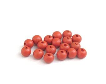 Lot R, red garnet 8 mm X 20 wood beads