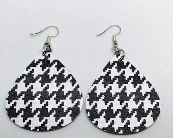 Leather, Leather earrings, Earrings, Houndstooth earrings, Black and white earrings, Teardrop earrings, Bold earrings, Statement earrings
