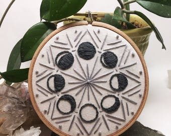 Phases of the Moon - Embroidery Hoop Art - delicate & intricate hand stitching