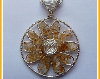 Citrine Flower Pendant, wire wrapped in Silver, with chain, November birthstone
