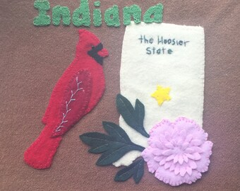 Indiana Wool Felt Applique Pattern - United States Quilt Block